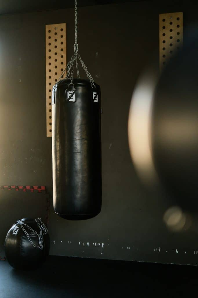 punching bag in gym